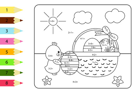Educational coloring page for preschool kids. Paint color by subtraction and addition numbers. Vector kawaii chick with basket of Easter eggs.