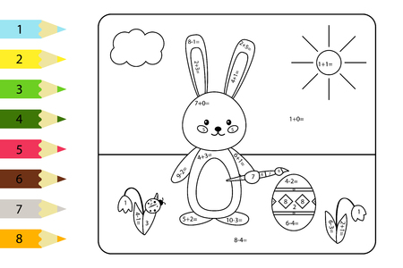 Educational coloring page for preschool kids. Paint color by subtraction and addition numbers. Vector bunny paints Easter egg. Spring theme.