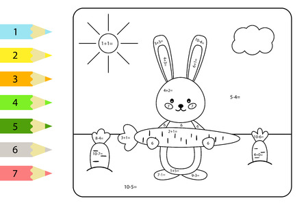 Educational coloring page for preschool kids. Paint color by subtraction and addition numbers. Vector kawaii rabbit with carrots. Spring theme. Ilustracje wektorowe