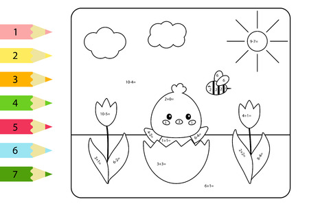 Educational coloring page for preschool kids. Paint color by subtraction and addition numbers. Vector kawaii chick hatched from egg shell.