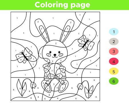 Educational number coloring page for kids. Vector kawaii rabbit with Easter egg. Spring flowers - snowdrops. Cartoon butterflies.