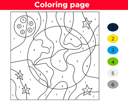 Number coloring page for preschool kids. Educational game. Earth day. Vector space, moon and stars. Иллюстрация