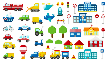 Set of cartoon vector transportation. Cute cars: police, ambulance, fire engine, truck, bus. Road signs. Buildings: fire station, hospital, station, police station, school and store. Ilustracja