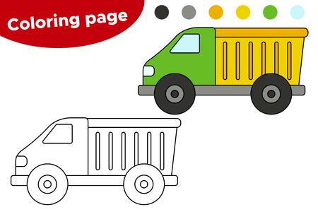 Educational game for preschool children. Cartoon vector construction machines, cute truck.