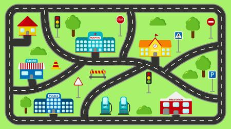 Mata do zabawy dla dzieci. Wektor kreskówka tor samochodowy miasta. Pejzaż miejski z budynkami, posterunkiem policji, szkołą, remizą strażacką, szpitalem, sklepem i stacją benzynową.