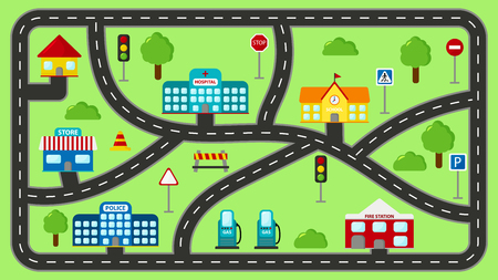 Play mat for kids. Vector cartoon city car track. Cityscape with buildings, police station, school, fire station, hospital, shop and gas station.