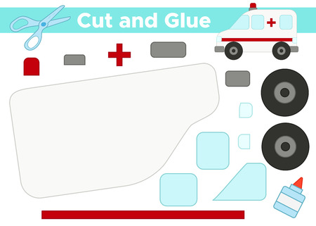 Cut and glue, create the image - vector ambulance car. Paper educational game for preschool kids.