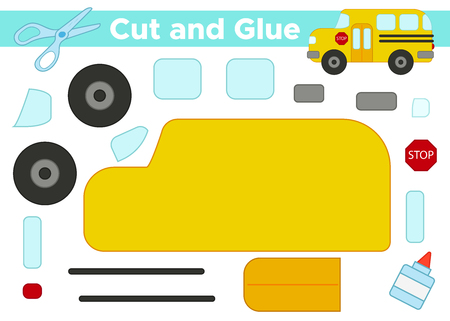 Cut and glue, create the image - vector school bus. Educational paper game for preschool children.