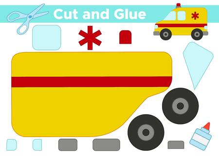 Educational paper game for kids. Cut and glue cartoon ambulance car. Illustration