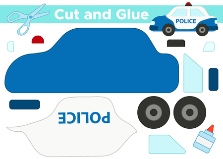Educational paper game for preschool children. Cut and glue cartoon police car. Vectores
