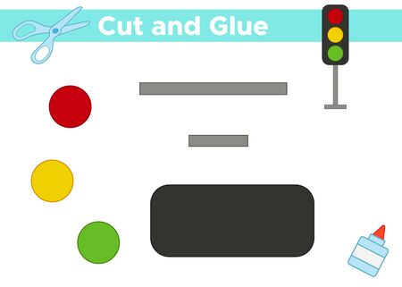 Cut and glue cartoon traffic light Educational paper game for preschool children. Banque d'images - 132855722