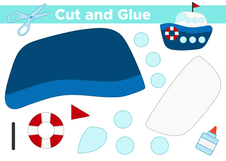 Cut and glue cartoon ship. Educational paper game for preschool children.