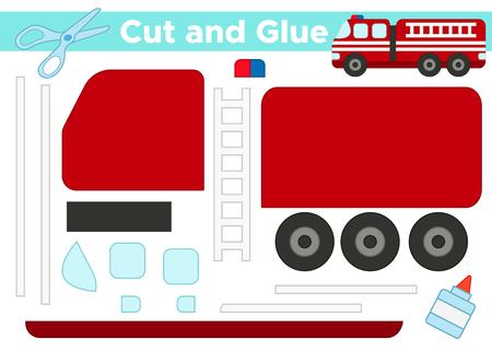 Schneiden und kleben, pädagogisches Papierspiel für Kinder im Vorschulalter. Cartoon Feuerwehrauto.