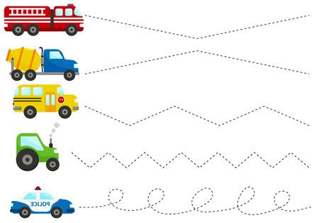 Coche de policía de dibujos animados lindo, camión, camión de bomberos, tractor, autobús escolar. Hoja de trabajo de trazado de líneas para niños, practicando habilidades motoras finas. Juego educativo para niños en edad preescolar. Ilustración de vector