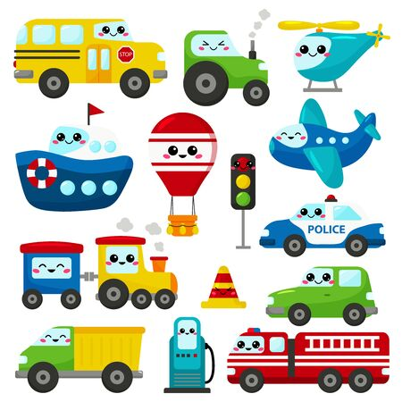 Vector set of kawaii transportation. Cute cartoon cars, plane, helicopter, ship, train and hot air balloon. Gas station, traffic light and road cone with face. Banque d'images - 132855726