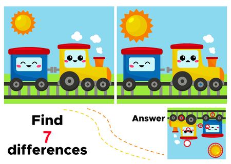Find 7 differences. Vector kawaii train and wagon. Educational game for kids. Activity worksheet with answer. Vectores