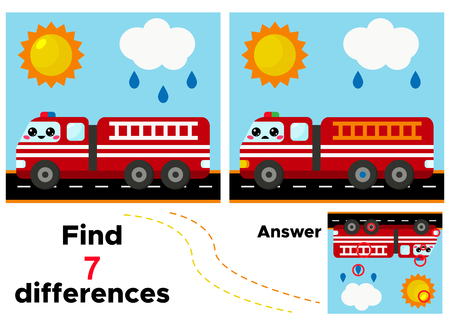 Educational game find 7 differences. Vector kawaii cartoon fire engine. Vectores