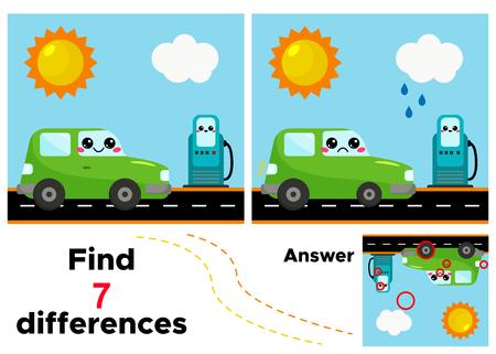 Lernspiel 7 Unterschiede finden. Cartoon-Auto an der Tankstelle. Vektor-kawaii-Charakter.