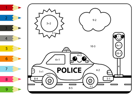 Mathematical coloring page for kids. Kawaii police car and traffic lights. Worksheet with addition and subtraction. Banque d'images - 132855732