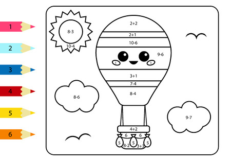 Coloring page by numbers. Kawaii cartoon hot air balloon. Activity worksheet addition and subtraction. Educational game for children.