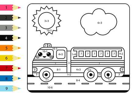 Coloring page by numbers. Kawaii cartoon fire truck. Activity worksheet addition and subtraction. Educational game for kids. Stock Vector - 123120456