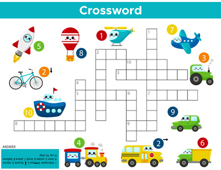 Crossword puzzle game of kawaii transports. For preschool kids activity worksheet. Study English words. Vector cartoon illustration.