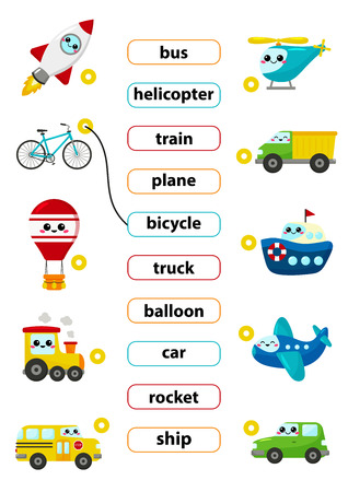 Match words with the correct pictures. Learn english words. For preschool kids activity worksheet. Cute kawaii cartoon vector characters. Vector Illustration