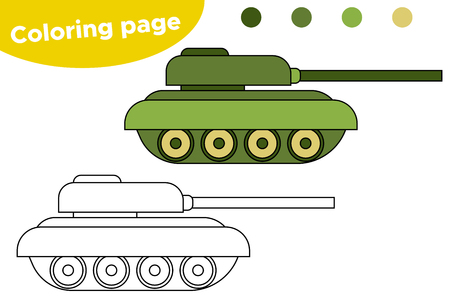 Coloring page for kids. Cartoon toy tank. Military theme. Stock Illustratie