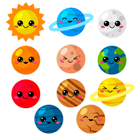 Kawaii cartoon vector set of planets. Cute solar system for kids. Planets, sun and moon with funny faces.