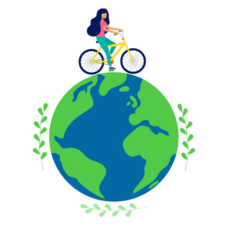 Save the planet, save energy. Woman rides a bicycle. World Environment Day. Earth Day vector illustration. Flat style.