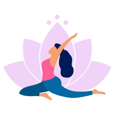 Mujer joven practicando yoga. Ella hace la pose de salamba kapotasana. Ejercicio de yoga sobre fondo de loto. Ilustración de estilo plano de vector. Ilustración de vector