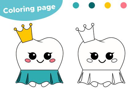 Coloriage pour les enfants sur l'hygiène dentaire. Dent de princesse de dessin animé mignon kawaii. Illustration vectorielle. Vecteurs