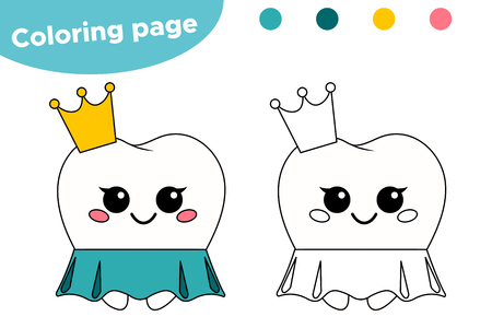 Coloring page for children about dental hygiene. Cute kawaii cartoon princess tooth. Vector illustration.
