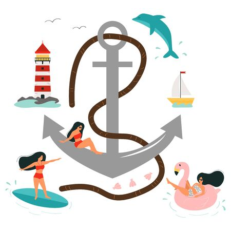 Vector anchor, lighthouse, resting women in swimsuits. Surf, swim on a rubber ring shaped flamingo. Summer time. Vacation on the beach.