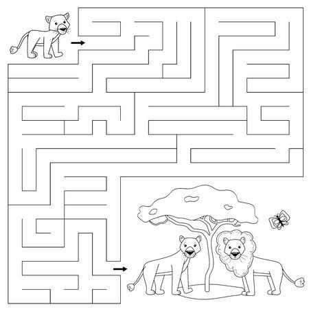 Página para colorear para niños. Juego de laberinto educativo. Ayuda al cachorro de león a encontrar el camino correcto hacia su familia, su madre y su padre. Personajes de dibujos animados de vector.