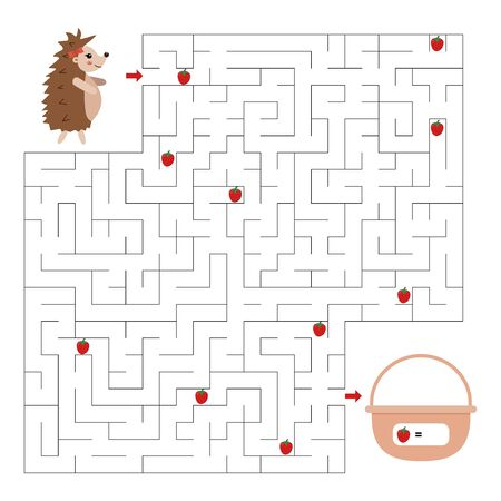 Maze game for kids. Help the hedgehog find right way to her basket. How many strawberries she found. Vector cartoon character. Educational worksheet.