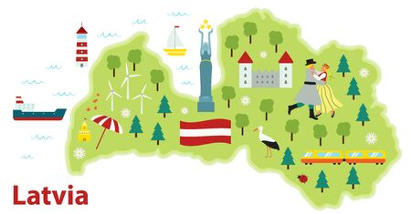 Vector stylized travel map of Latvia. Baltic sea. Flat style illustration. Dancing woman and man in traditional costumes. Latvian flag and symbols, animals and infrastructure.