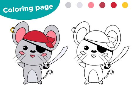 Halloween party. Coloring page for children. Kawaii mouse dressed up in pirate costume. Educational game. Cartoon character.