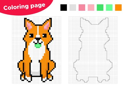 Pixel coloring page for preschool and school kids. Cute cartoon Welsh Corgi dog with ball. Count and color squares. Educational game. Illustration