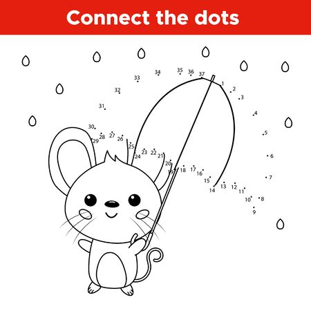 Educational game for preschoolers. Connect number dot to dot activity worksheet. Kawaii mouse with umbrella. Autumn rainy day. Coloring page for children. Vector illustration. Ilustração