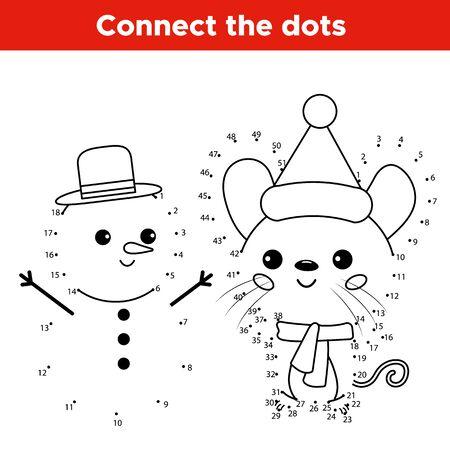 Jeu de point à point avec des nombres éducatifs. Personnage de souris de dessin animé kawaii avec bonhomme de neige. Fiche d'activité pour les enfants. Vecteurs
