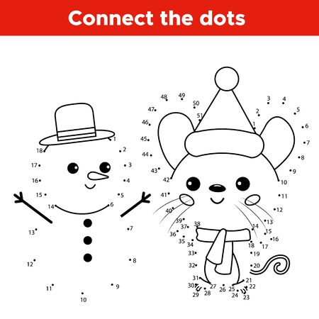 Número educativo juego de punto a punto. Personaje de ratón de dibujos animados kawaii con muñeco de nieve. Hoja de trabajo de actividades para niños. Ilustración de vector