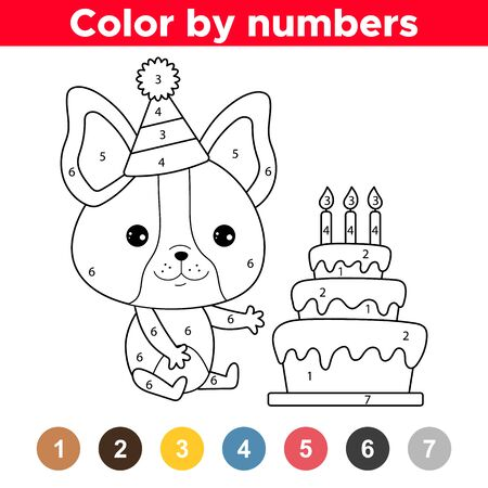 Cute kawaii French bulldog puppy with birthday cake. Educational game for preschool children. Numbers coloring page. Stock Vector - 137561308