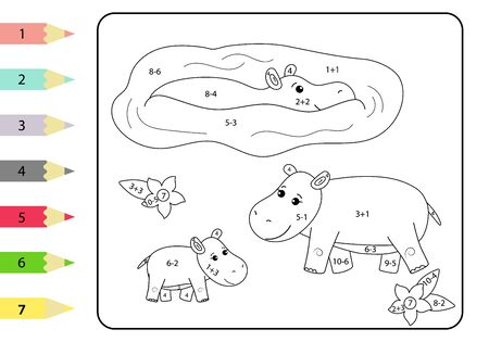 Study subtraction and addition. Math coloring page for children. Cute african animals - hippo family. Educational game for preschoolers. Vector Illustration
