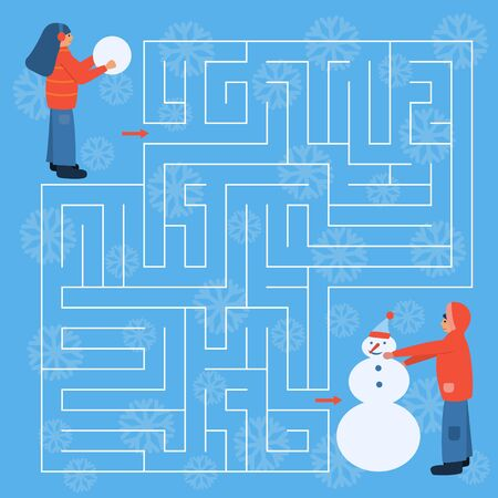 Maze game for kids. Help the girl find right way to his friend. Children make snowman. Winter activity. Christmas and New Year holidays.