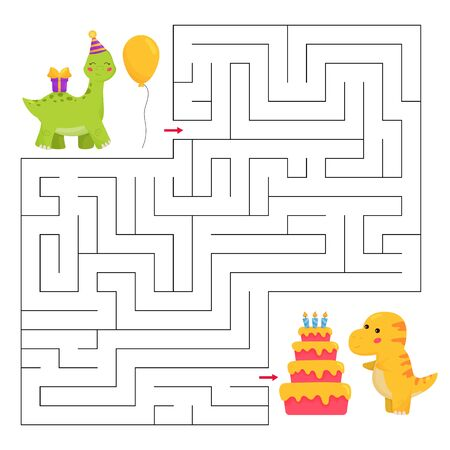 Help the brachiosaurus dinosaur find path to T-rex birthday party. Maze game for children. Kawaii cartoon characters. Funny labyrinth.