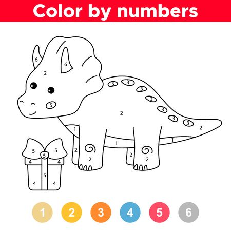 Coloring page by numbers. Educational game for preschool kids. Cute kawaii dinosaur triceratops with gift box. Birthday theme.