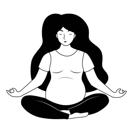 Pregnant woman doing yoga. Lotus pose. Young woman meditation. Black and white vector illustration.