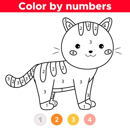 Coloring by numbers. Cute kawaii cartoon cat. Coloring book for preschool children. Educational game. Ilustrace