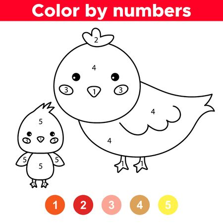 Educational game with cartoon chicken. Farm animals. Number coloring page. Coloring book for preschool kids.